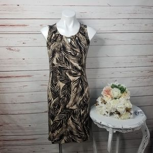 Dana Buchman Leaf Print Stretch Sheath Dress XS